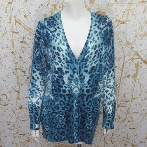 Chico's Button Down v neck cardigan sweater size L